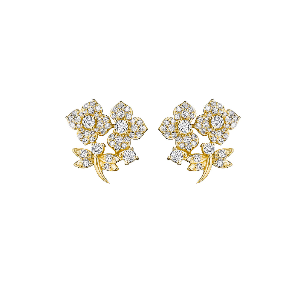 Enchanted Garden Pave Diamond Stud Earrings