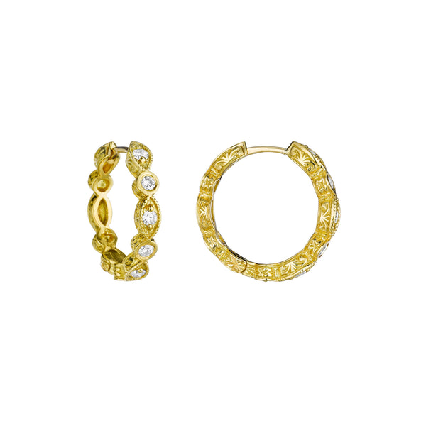 Petite Marquise Hoop Earrings