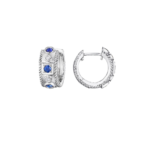 Round & Square Blue Sapphire Huggie Earrings