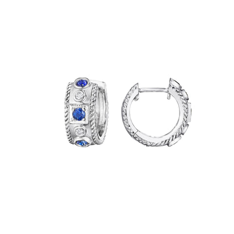 Round & Square Station Blue Sapphire Huggie Earrings