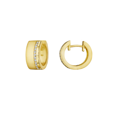 Petite Moderne Deco Wide Huggie Earrings