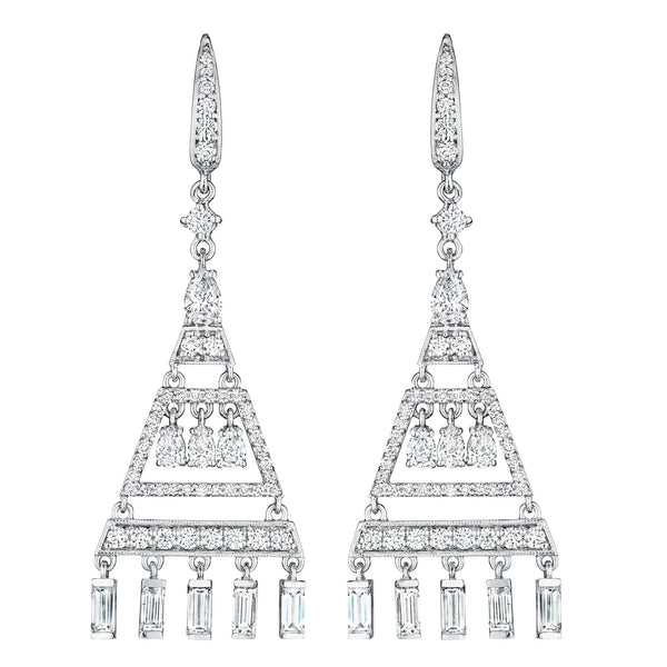 Art Deco Pyramid Chandelier Earrings