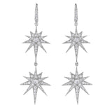 Double Starburst Drop Earrings