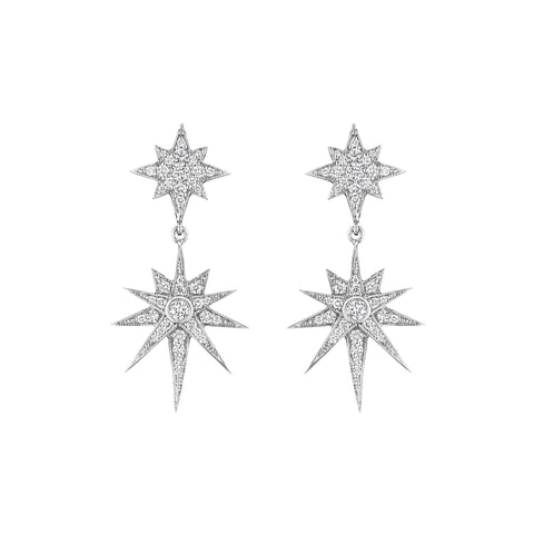 Petite Double Starburst Drop Earrings