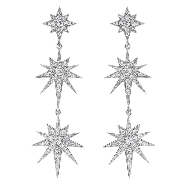 Triple Starburst Drop Earrings