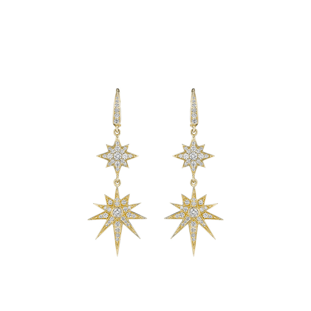 Mid Double Starburst Drop Earrings on French Wire