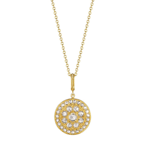 Round Rose-Cut Medallion Necklace