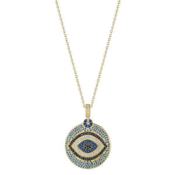Round Blue Sapphire & Black Diamond Evil Eye Pendant
