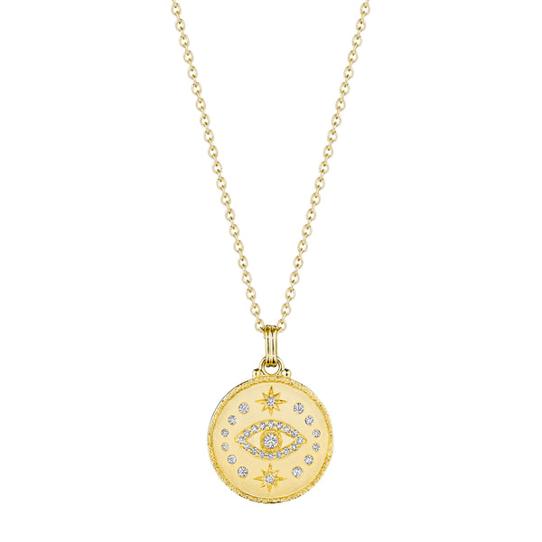 Hammered Evil Eye Medallion Necklace