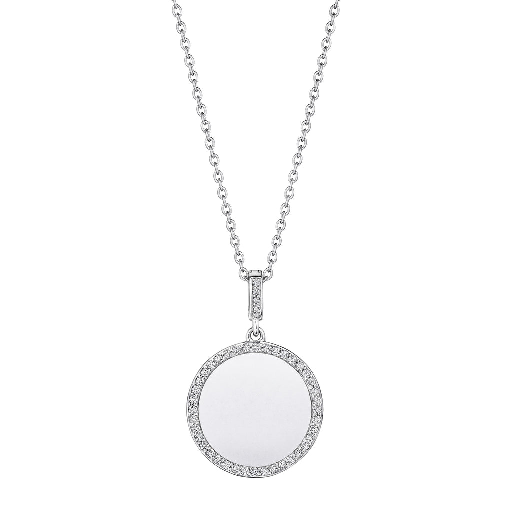 Engravable Round Medallion Necklace