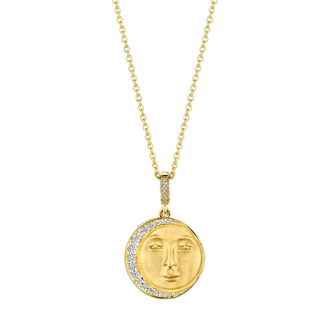 Man In The Moon Medallion Necklace