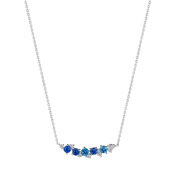 Blue Sapphire Cluster Bar Necklace