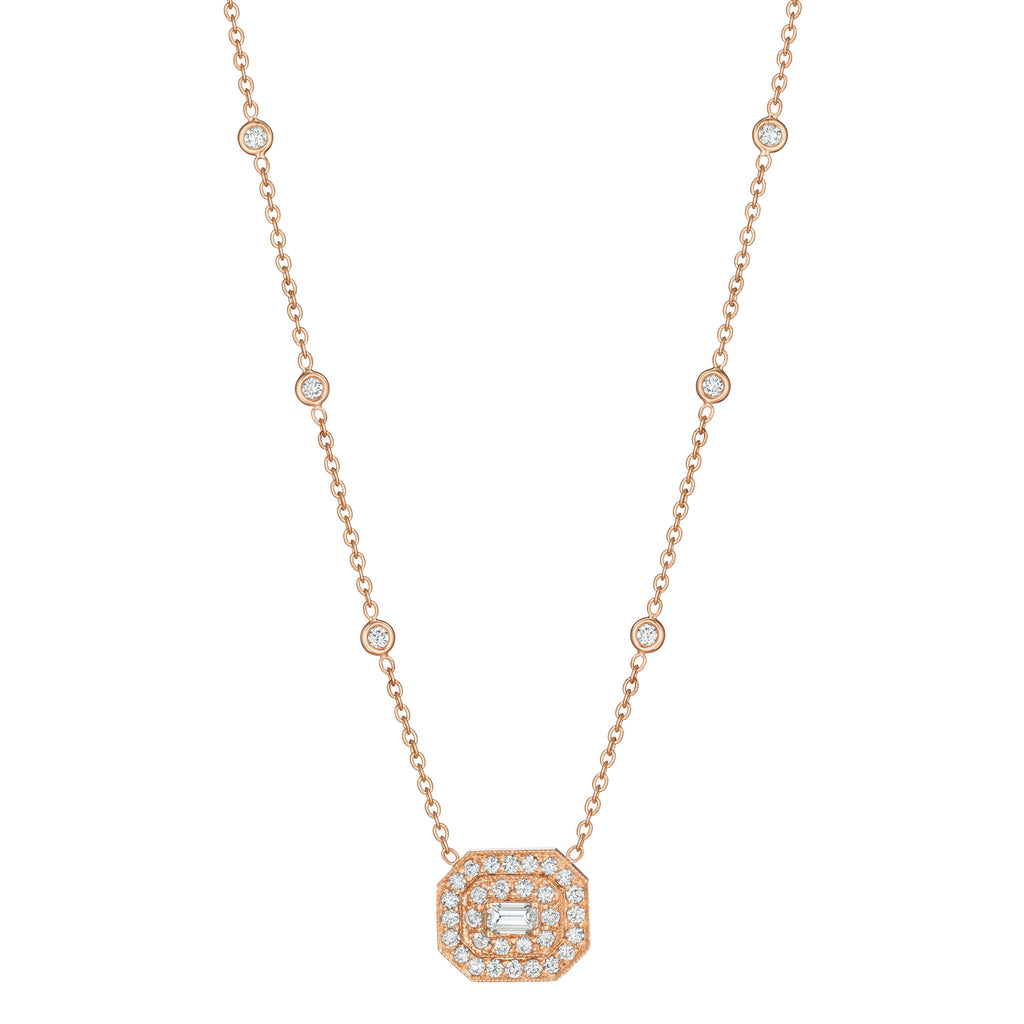 Penny Preville Diamond Necklace with Emerald-Cut Center Stone H9kXBheas