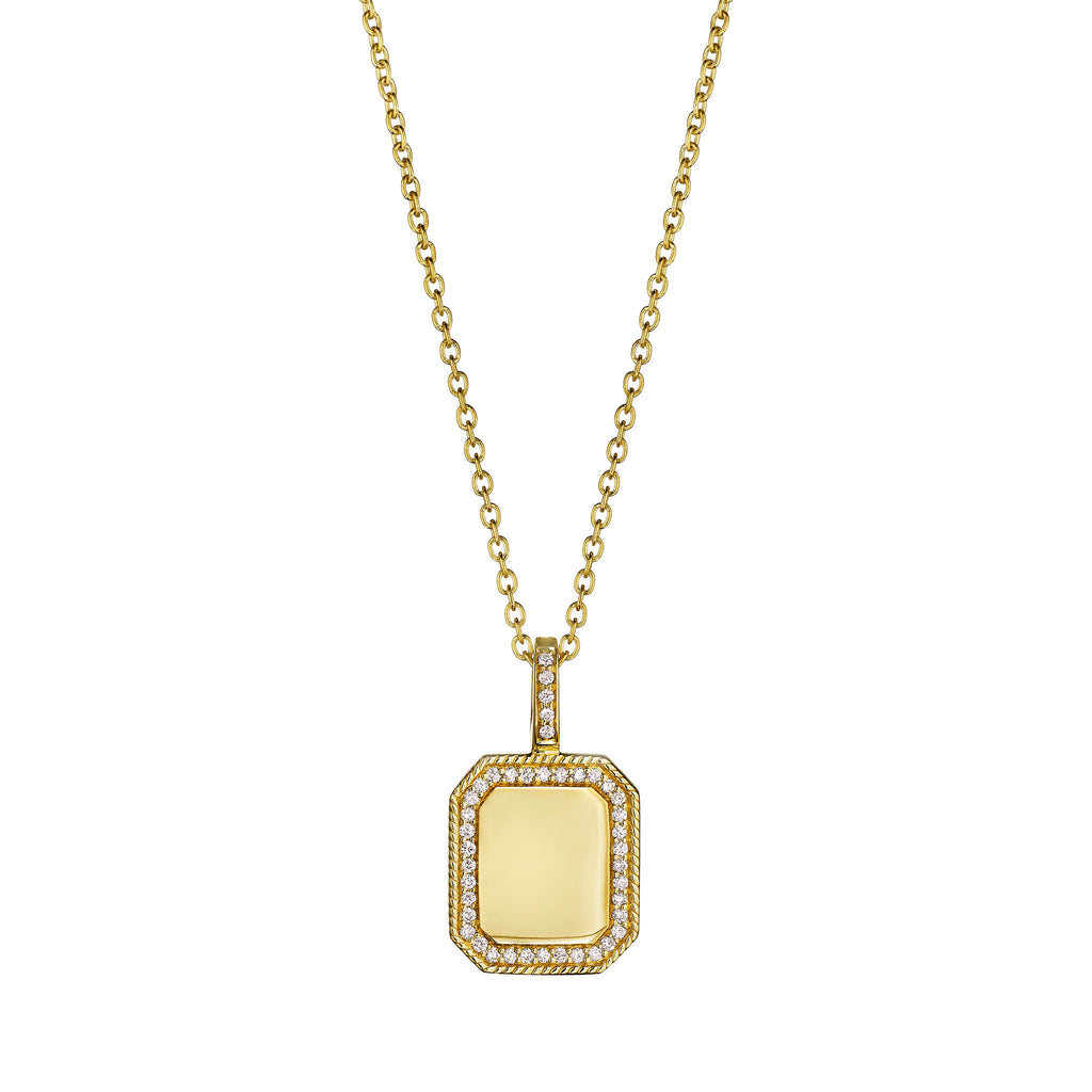 Rectangle Engravable Medallion Necklace
