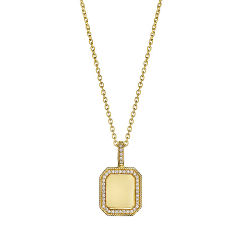 Engravable Rectangle Medallion Necklace