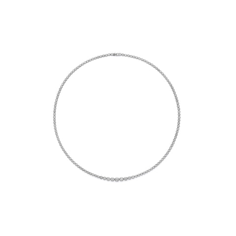 Bezel Set Round Diamond Choker Necklace