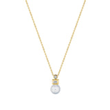 Round & Baguette Pearl Necklace