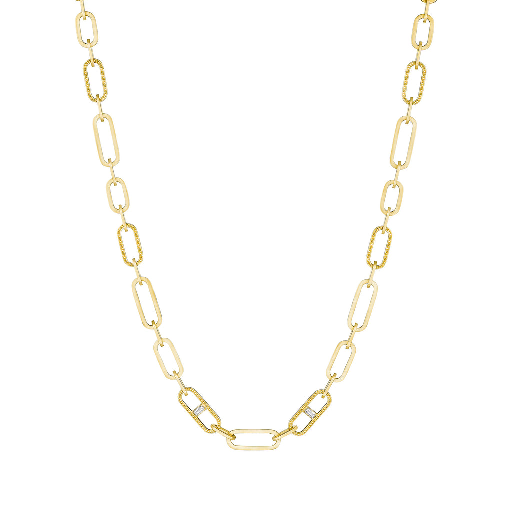 "17"" Diamond Baguette Station Flat Link Necklace"