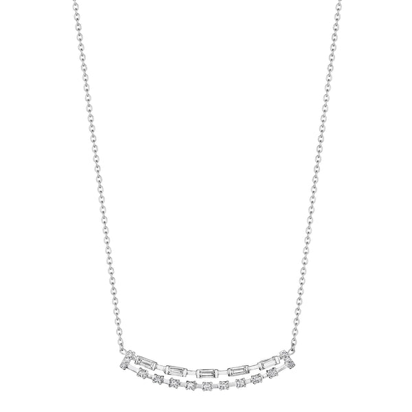 Baguette & Round Double Bar Necklace