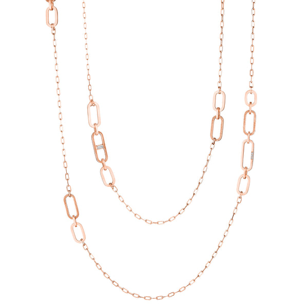 "34"" Diamond Baguette Station Flat Link Signature Chain"