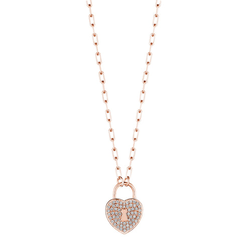 Heart Lock Charm Link Necklace