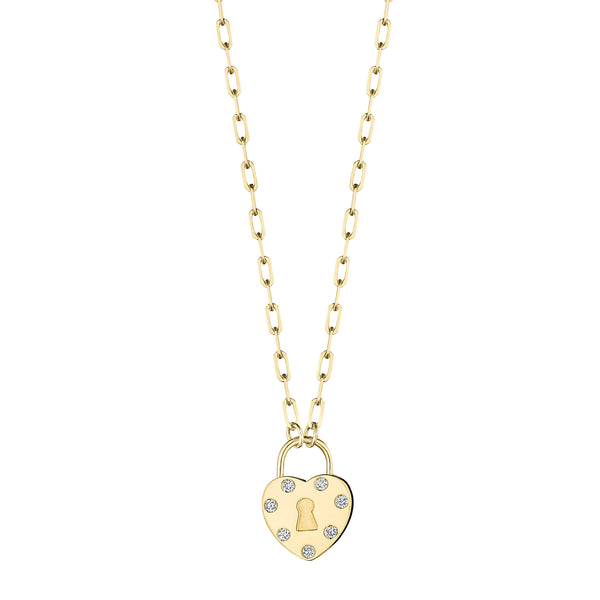Heart Padlock Link Necklace