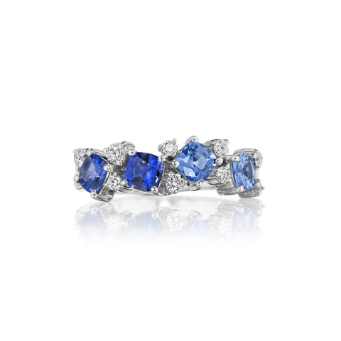 Blue Sapphire Ombre Cluster Band