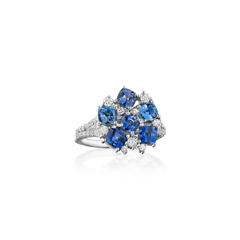 Blue Sapphire Cluster Cocktail Ring