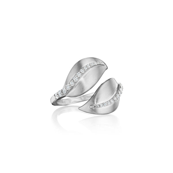 Diamond Center Leaf Bypass Ring
