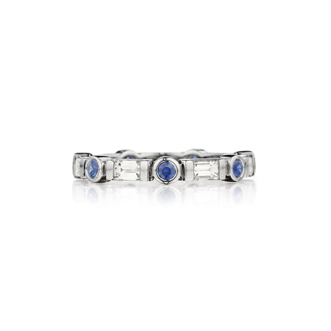 Blue Sapphire Round & Baguette Ring
