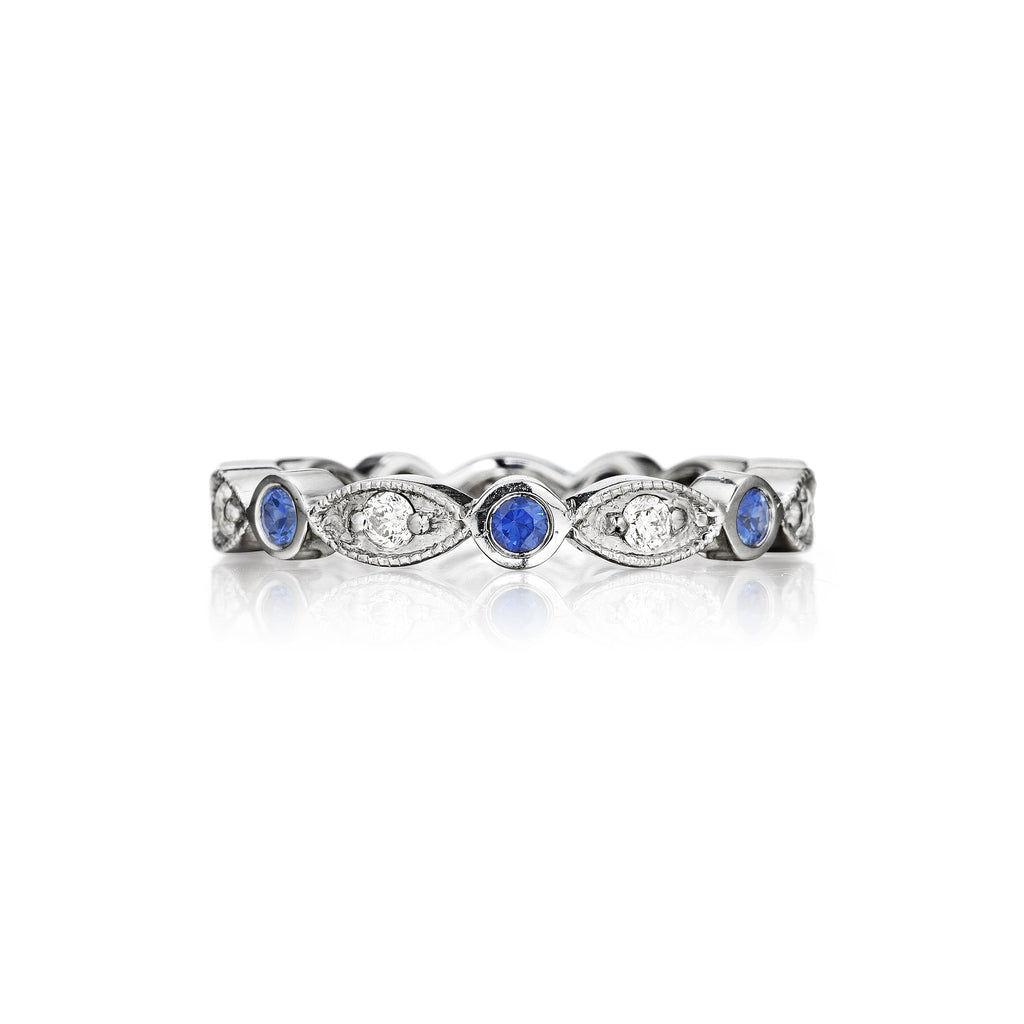 Blue Sapphire Round & Marquise Ring