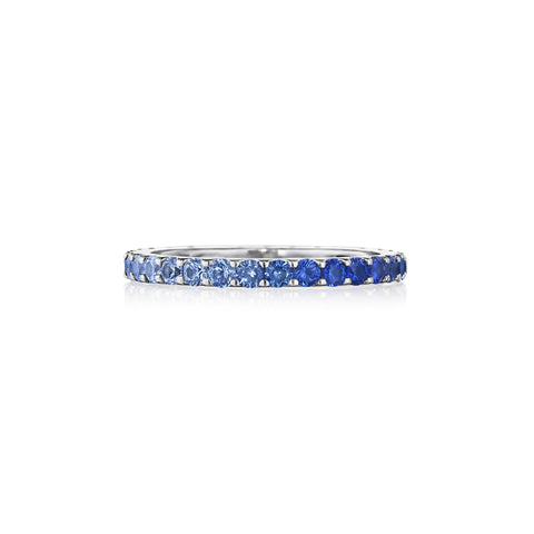 Thin Blue Sapphire Ombre Band