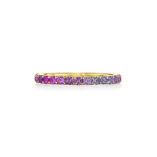 Thin Pink Sapphire Ombre Band