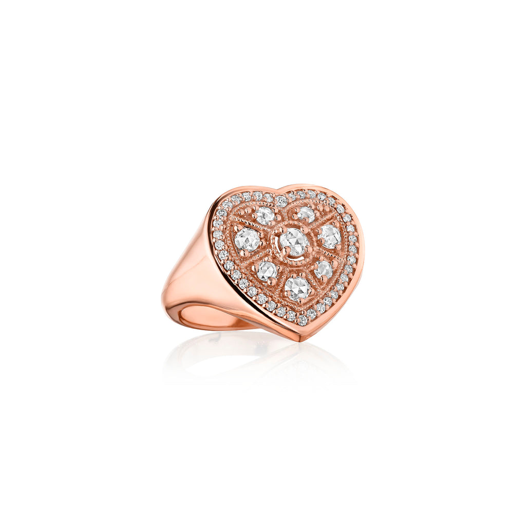 Rose-Cut Heart Ring