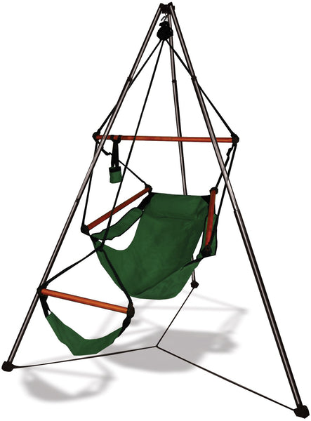 Hammaka Tripod Stand with Hunter Green Hanging Air Chair Combo - Swings N' Hammocks