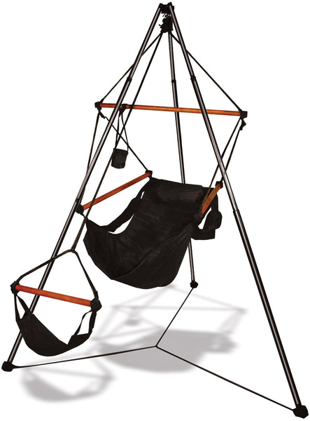 Hammaka Tripod Stand with Jet Black Hanging Air Chair Combo - Swings N' Hammocks
