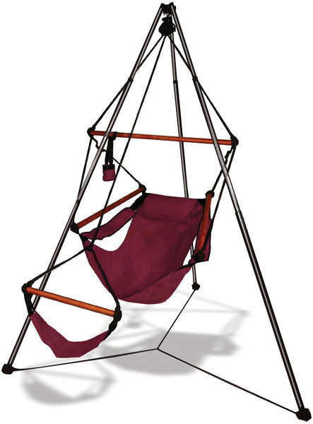 Hammaka Tripod Stand with Burgundy Hanging Air Chair Combo - Swings N' Hammocks