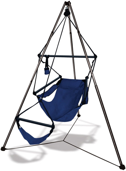 Hammaka Tripod Stand with Midnight Blue Hanging Air Chair Combo - Swings N' Hammocks