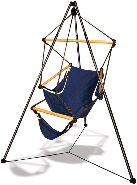 Hammaka Tripod Stand with Midnight Blue Hanging Cradle Chair Combo - Swings N' Hammocks