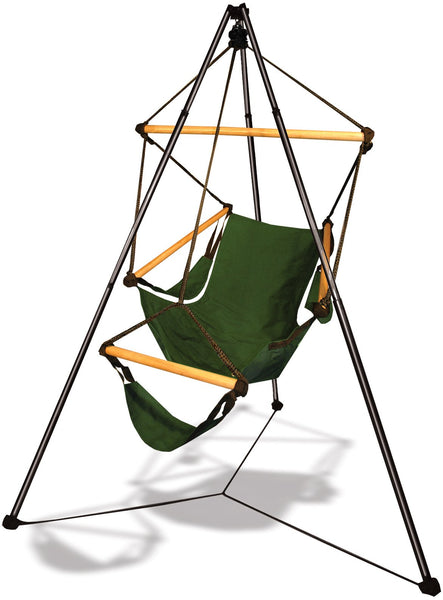 Hammaka Tripod Stand with Hunter Green Hanging Cradle Chair Combo - Swings N' Hammocks