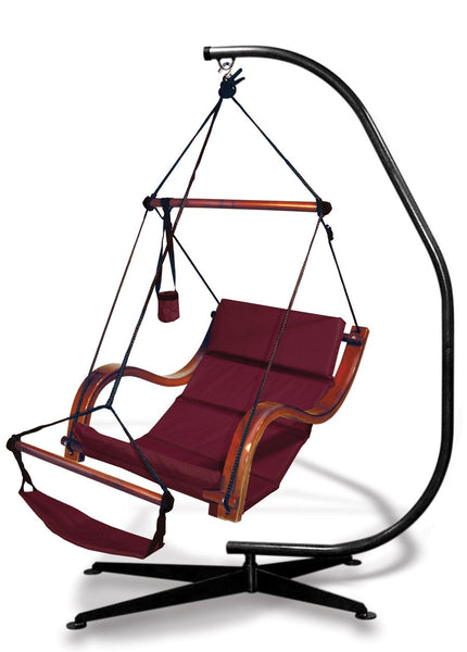 Hammaka Suelo Stand and Burgundy Nami Chair Combo - Swings N' Hammocks
