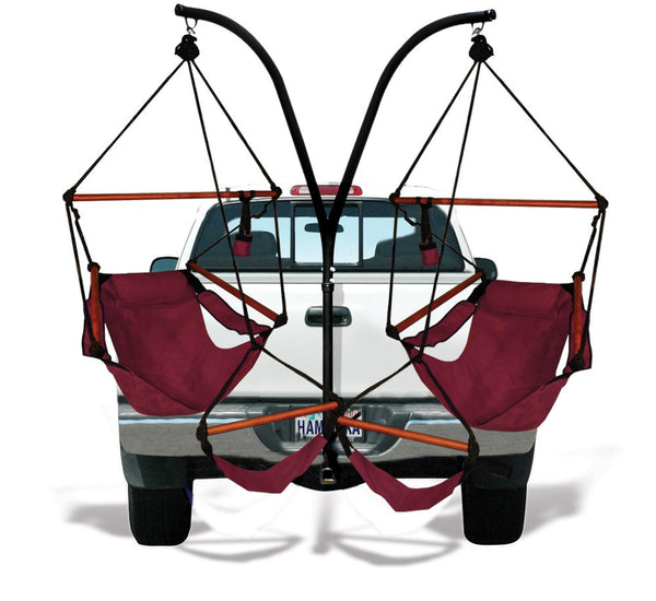 Hammaka Trailer Hitch Stand with Burgundy Hammaka Chairs Combo - Swings N' Hammocks