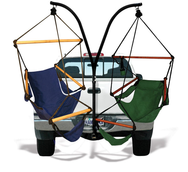 Hammaka Trailer Hitch Stand and Midnight Blue Cradle Chairs Combo - Swings N' Hammocks