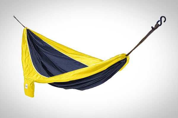 Navy Blue and Yellow Hammaka Parachute Silk Hammock - Swings N' Hammocks