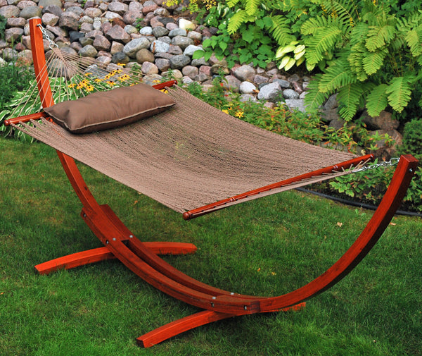 12' Arc Stand and Caribbean Hammock with Pillow - Swings N' Hammocks - 2