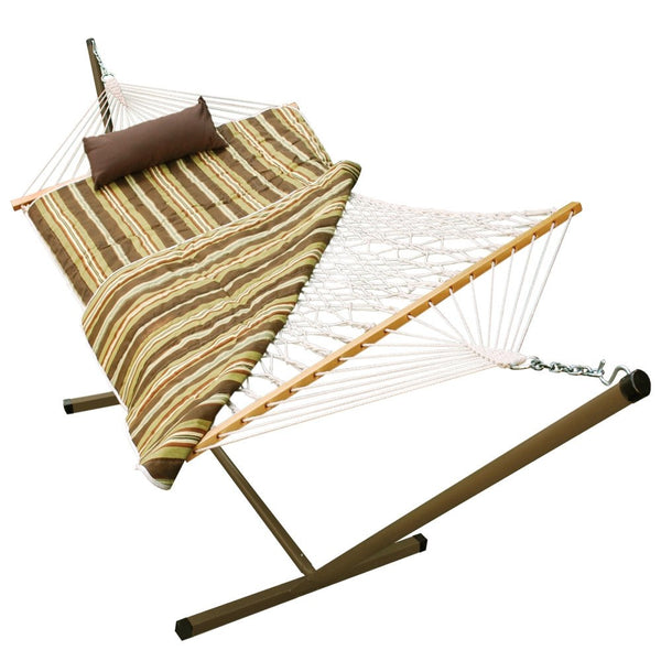 Cotton Rope Hammock, Stand, Pad and Pillow Combination - Swings N' Hammocks - 3