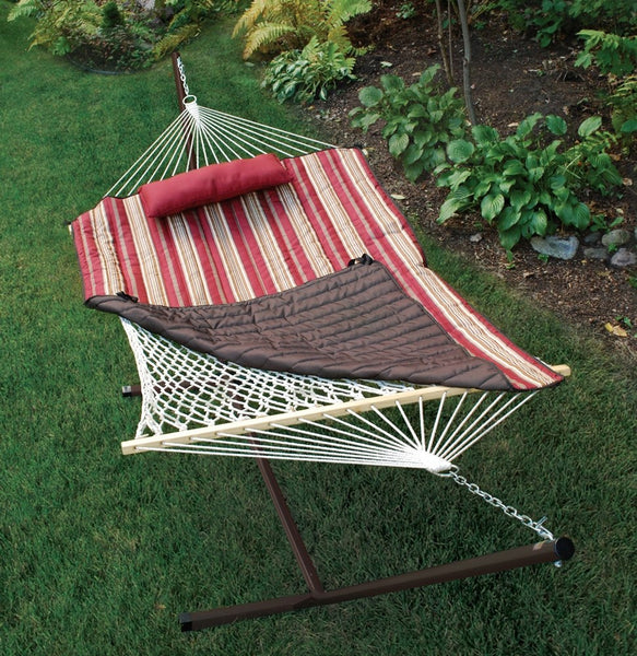 Cotton Rope Hammock, Stand, Pad and Pillow Combination - Swings N' Hammocks - 6