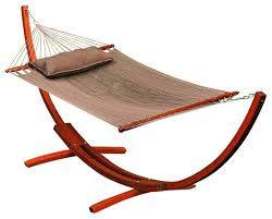 12' Arc Stand and Caribbean Hammock with Pillow - Swings N' Hammocks - 1