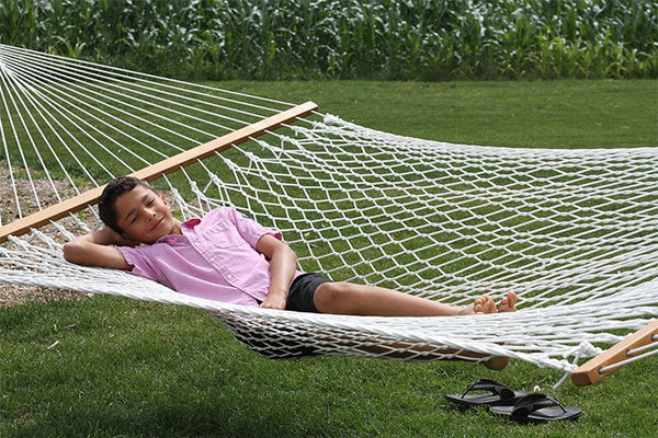 COTTON ROPE HAMMOCK - DOUBLE - NATURAL - Swings N' Hammocks - 3