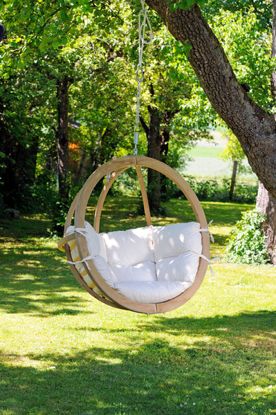 Globo Hanging Chair, Natural, NEW! Outdoor Fabric - Swings N' Hammocks - 1